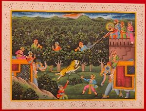 Hand-Painted-Mughal-Hunting-Scene-Tiger-Miniature-Painting-India-Artwork