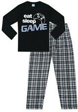Boys Eat Sleep Game Woven Check Long Pyjamas 9 to 15 Years Gamer PJs Black