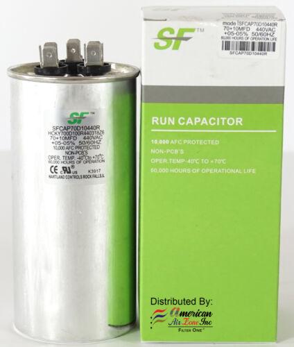 TRANE 70+10 MFD 370//440V Dual Run Capacitor-Round for Motor/&Compressor 1-Pack