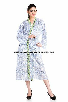 Indian Block Printed Cotton Kimono Handmade Long Bath Robe Casual Nightgown New