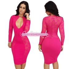 Womens Sexy Hollow Lace Cocktail Evening Club Party Pencil Bodycon Dress S M L