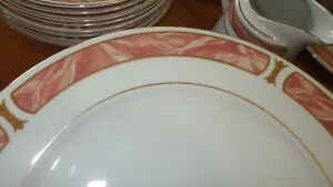 Fine-China-Dinnerware-Marble-Rose-SANGO-Mayesty-China-Service-for-8-49-pc-EUC