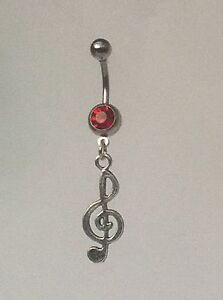 TREBLE-CLEF-Belly-Bar-dangle-Choice-of-colour-UK-made-Free-1St-Class-Post
