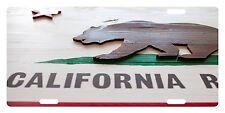 CALIFORNIA State Flag Custom License Plate Bear Wood Emblem Version # 5