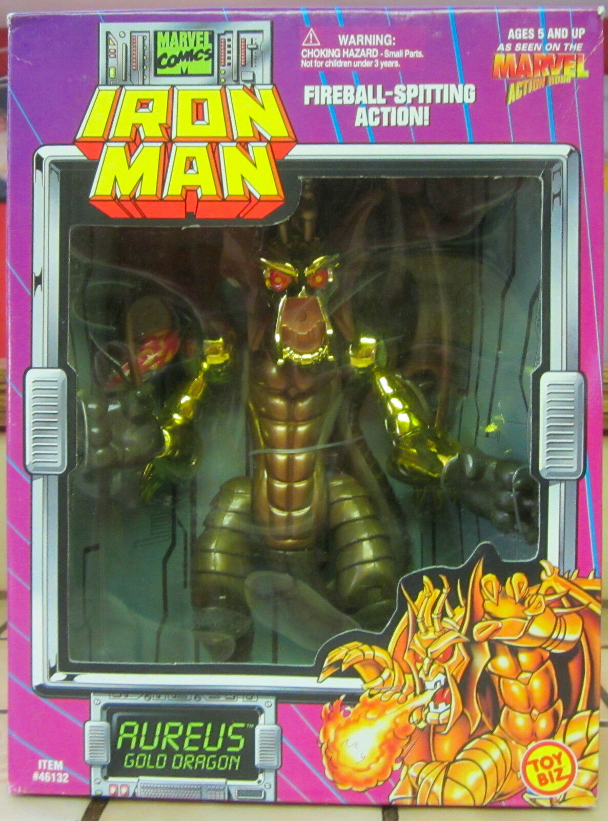 1995 Iron Man Aureus gold Dragon Fireball Spitting Actionigure ToyBiz - NEW