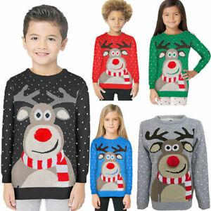 Boys-Girls-Christmas-Jumper-Xmas-Kids-Sweater-Rudolph-Pom-Pom-Novelty-Pullover