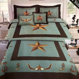 Western Longhorn Star & Boots Turquoise Star Design Barbed Wire Quilt BedSpread
