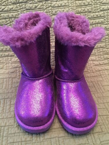 Toddler Girls Boots Purple Metallic Glitter Fashion Faux Fur Circo Dasha 5 6 7