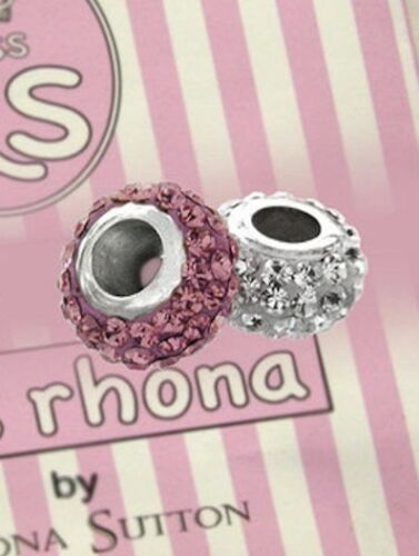Miss Rhona Sterling Silver Spacer Beads*2 Pink and White Glitter*Brand New