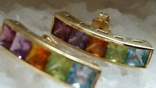 Estate Solid Gold 18k Earrings Citrine Amethyst Peridot Garnet Aquamarin
