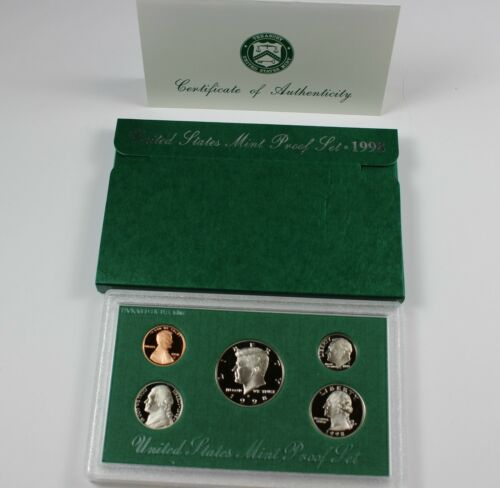 1998-S UNITED STATES MINT PROOF SET WITH BOX//COA 5 COIN SET
