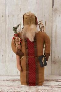 """New Primitive Country Folk Art OLD FASHIONED SANTA DOLL WITH STOCKING Twigs 16"""""""