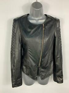 WOMENS-JACOB-ELLIS-BLACK-CASUAL-FAUX-LEATHER-PATTERN-BIKER-COAT-JACKET-SIZE-S
