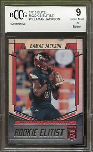 2018-Elite-Rookie-Elitist-5-Lamar-Jackson-Rookie-Card-BGS-BCCG-9-Near-Mint