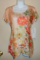 Jane Ashley Casual Life Style Short Sleeve Embellished Top Peach Small (s)