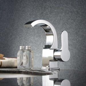Brass Chrome Bathroom Basin Sink Waterfall Faucet Single Hole Handle Mixer Tap