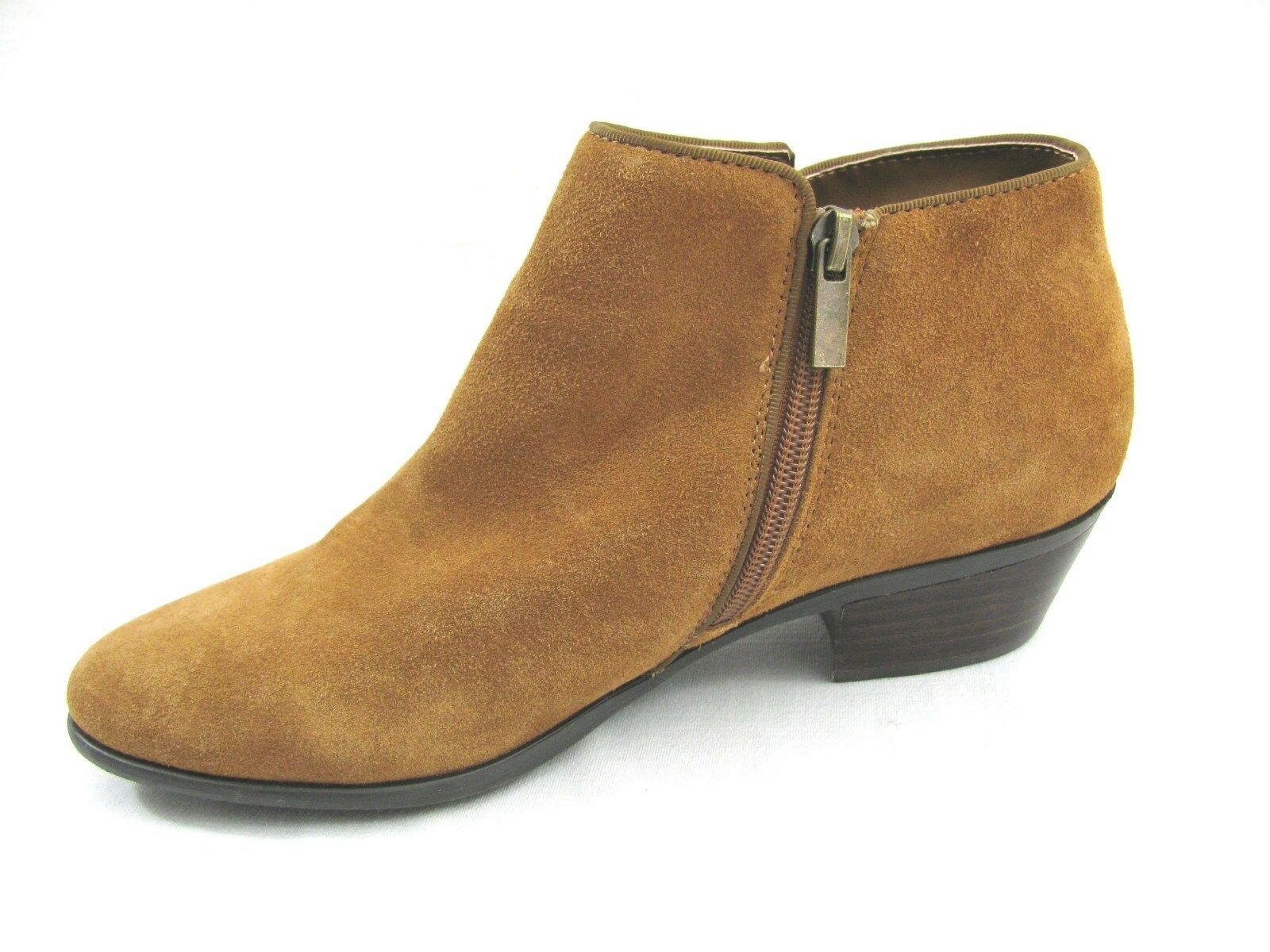 New Tan Suede Leather Ankle Boots 8.5 M Crown Vtg Light Brown Tabitha Zip Heels