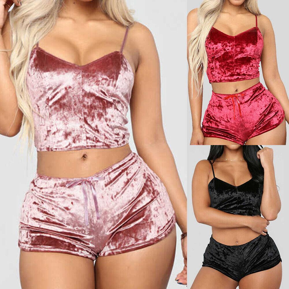 ️❤️ Sexy Damen Samt Pyjama Set Schlafanzug Nachtwäsche Dessous Negligee Lingerie