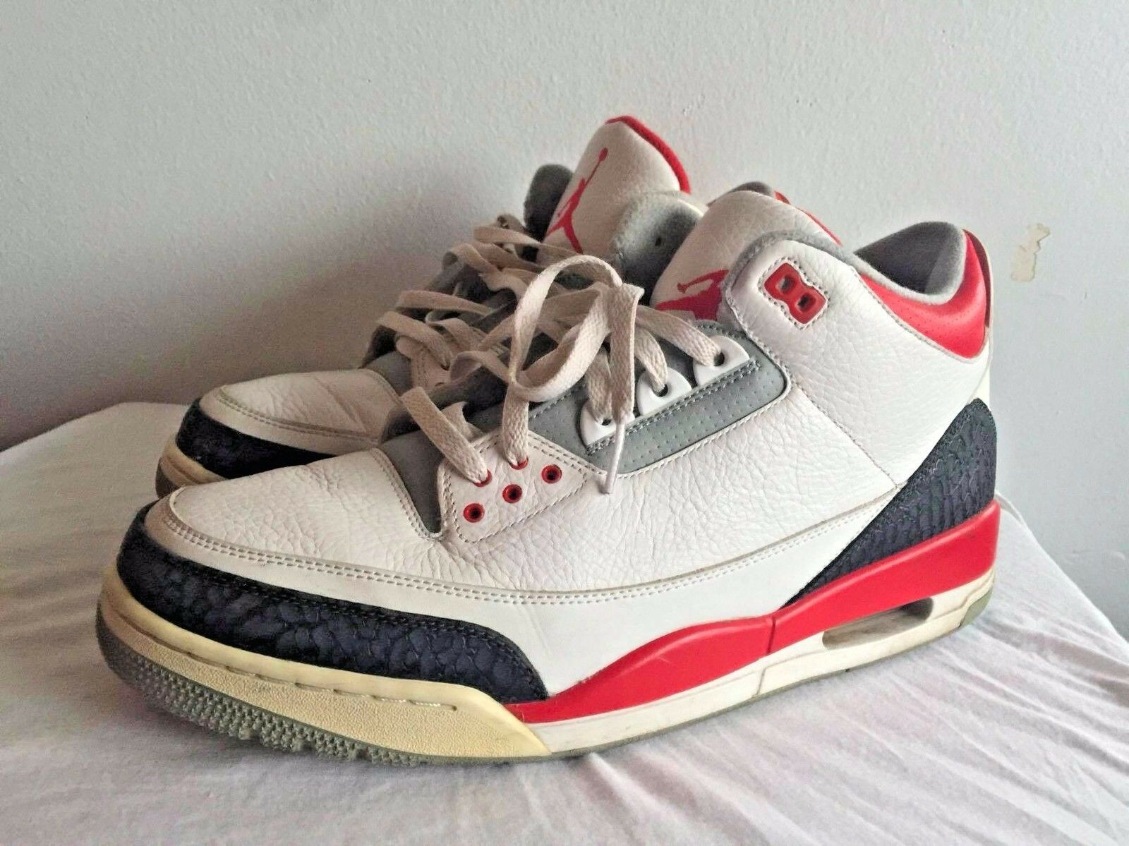 Nike Air Jordan Retro 3 Fire Red White Black Comfortable New shoes for men and women, limited time discount
