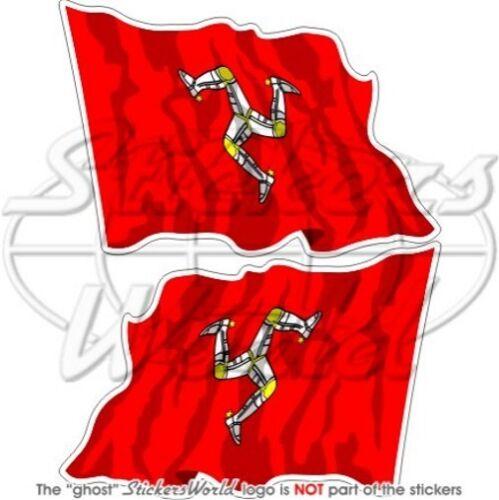 INSEL MAN Wehende Flagge ISLE OF MAN Fahne GB 120mm Auto Aufkleber x2 Stickers