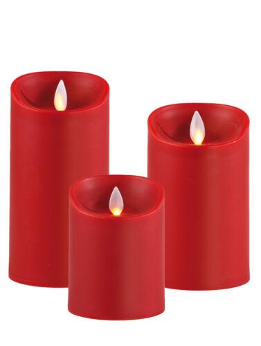 SOMPEX Flame Kerze LED Wachskerze rot fernbedienbar Timer 8 x 18 Adventskranz