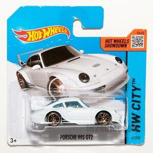 Porsche-993-GT2-Blanco-escala-2014-Hot-Wheels-1-64-Raro-Coleccionable-Regalo