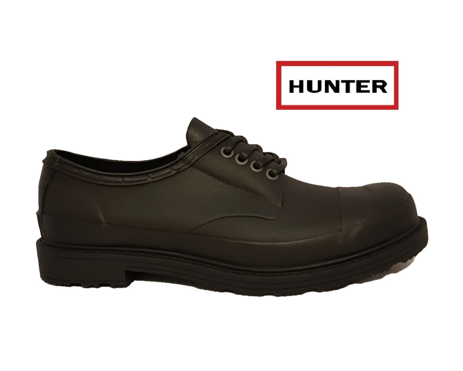 HUNTER NATURAL ORIGINAL DERBY Schuhe BLACK NATURAL HUNTER RUBBER WATERPROOF WELLIES LACE UPS MEN 954d13