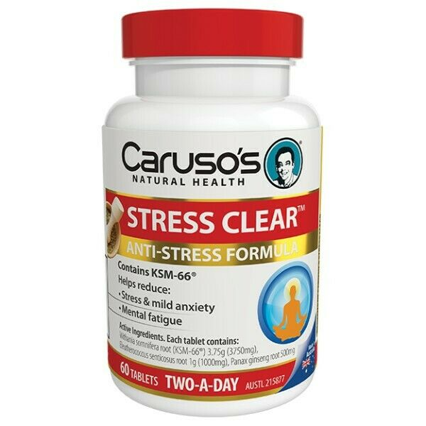 Caruso's Stress Clear 60 Tablets Anti-Stress Relief Formula Mild Anxiety Carusos