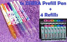 1x 4 Color ZEBRA Prefill Pen + 4 Refills Japan Special Edition Like Coleto Cute