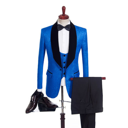 Man Suit Groom Suits Groomsman Wedding Printed blue Tuxedos Red qI0SEzwn