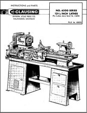Clausing 6300 Series 12 34 Inch Lathes Instruction Parts Manual