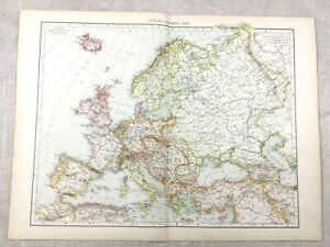 1895-Map-of-Europe-European-Political-Countries-Old-Antique-19th-Century-Large