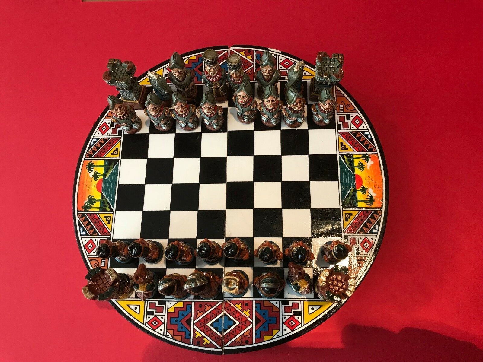Incas and Conquistadors Chess Pieces and Board, Hand Painted