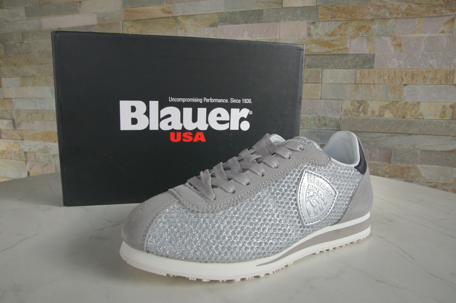 BLAUER USA Taglia 37 SNEAKERS normalissime scarpe Bowling grigie argento NUOVO UVP