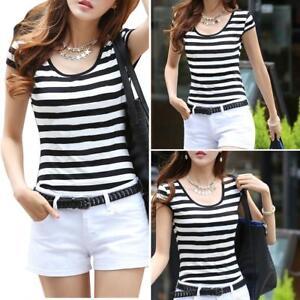 EG-HK-Women-Black-And-White-Striped-Slim-Fit-Bottom-T-Shirt-Cap-Sleeve-Blouse
