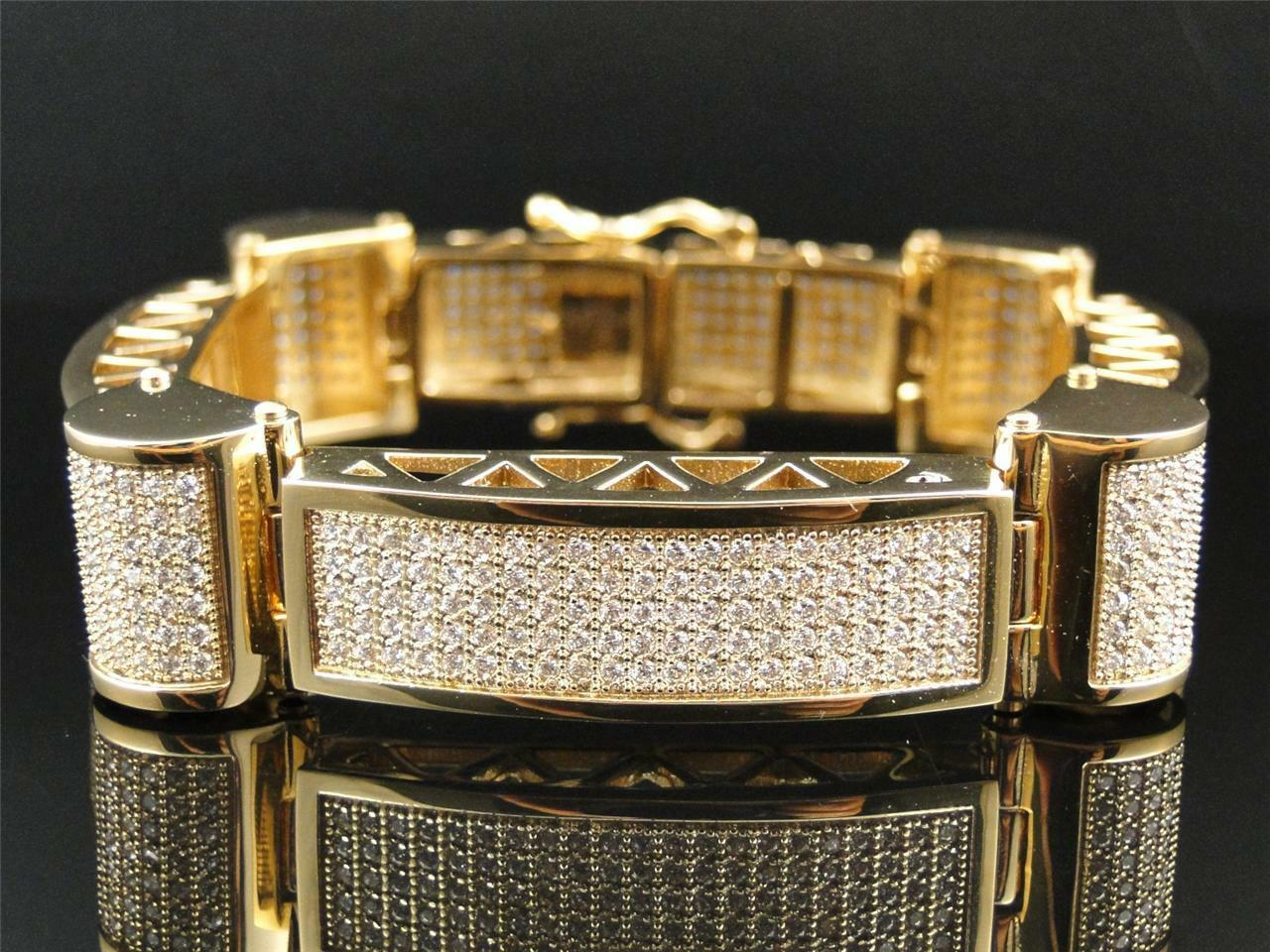 Mens Yellow Finish Real 316 Stainless Steel White Simulated Diamonds Bracelet 9