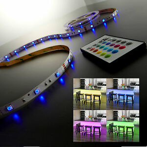 led streifen lichtleiste selbstklebend led band farbwechsel mit fernbedienung ebay. Black Bedroom Furniture Sets. Home Design Ideas