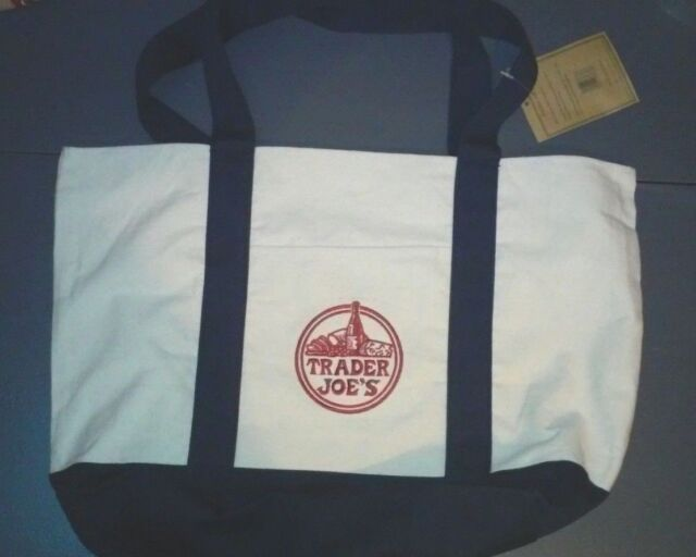 Trader Joe S Canvas Ping Bag With Handles Cloth Reusable Eco Friendly Nwt