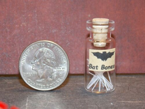 Dollhouse Miniature Witch Potion Jar Bat Bones 1:12 inc scale H88 Dollys Gallery