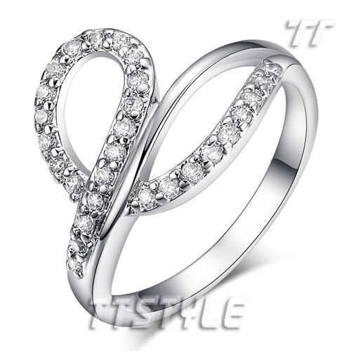 Fashion TTstyle 18K White Gold Plated Wedding Party Ring Size 5-8