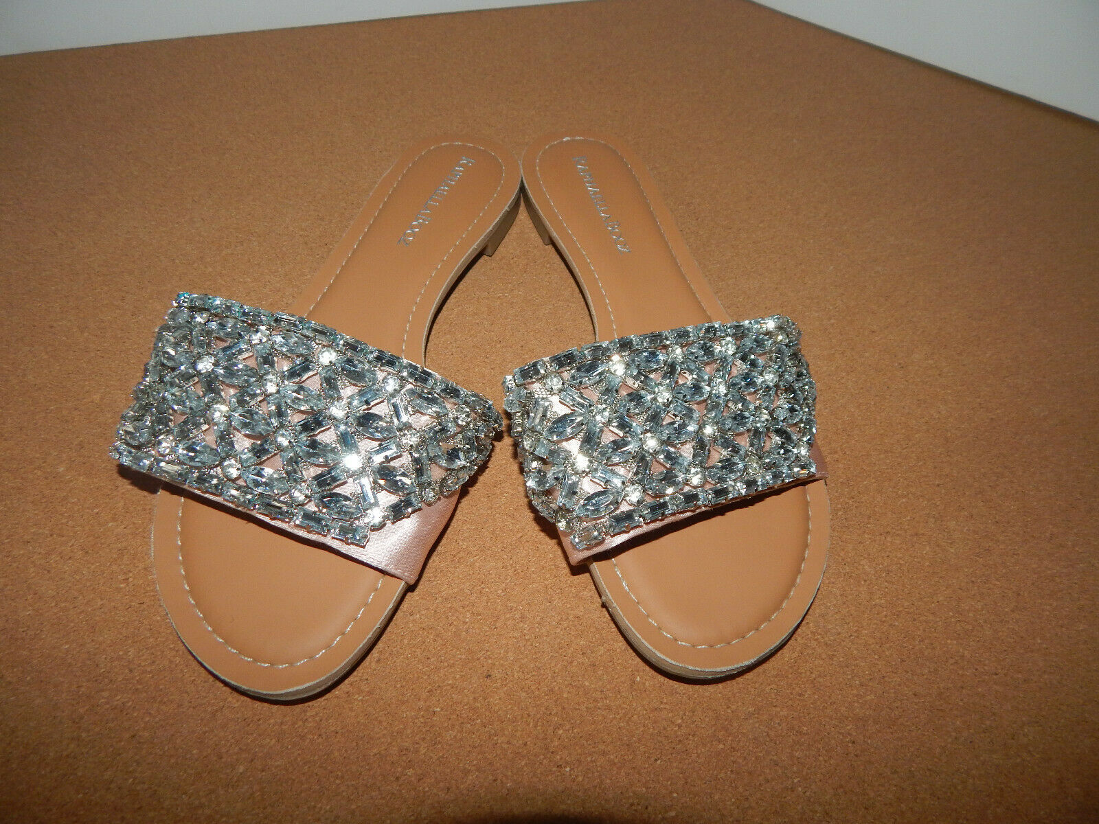 BHLDN 9 RAPHAELLA BOOZ SANDALS FANCY BRIDE EVENING RHINESTONES LEATHER SLIDE