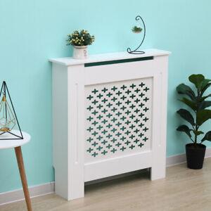 Kensington-Radiator-Cover-Small-White-78x19x82cm-Cross-Pattern-Wood-Cabinet