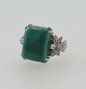 9927780-925er-Silber-Gruenachat-Opal-Ring-mit-Markasiten-Art-deco-Gr-56