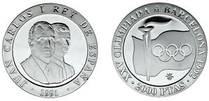 2000 SILVER PESETAS/PLATA antorcha olímpica. 1991. prueba de Barcelona 1992.