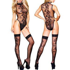 fde48e3cdc88 Detalles de Conjunto de Lencería Mujer Body Medias Transparentes Ropa  Interior Sexy Nuevo