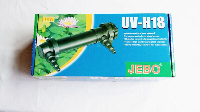 Jebo 18w UV Clarifier Clarifier Clarifier Ultraviola Sterilizer Aquarium 180 Gallons Pond Filter 8260d9