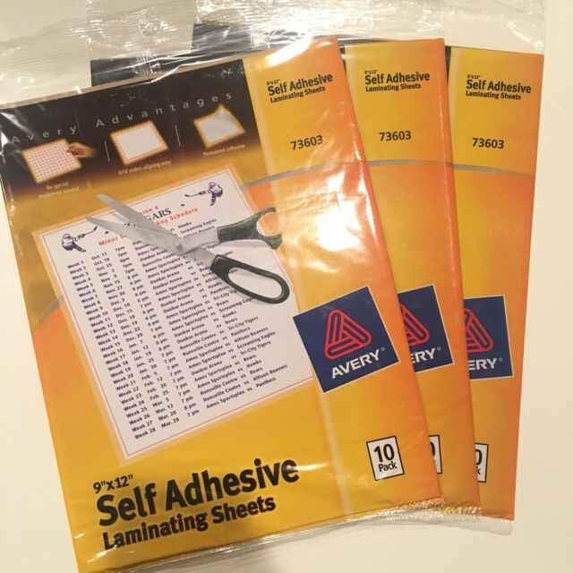 4 Sheets BUY 2 GET 1 FREE Avery 73601 Self-Adhesive Laminating Sheets 9 x 12