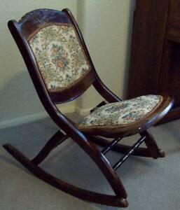 Antique Vtg Folding Rocking Chair Sewing Womens Victorian