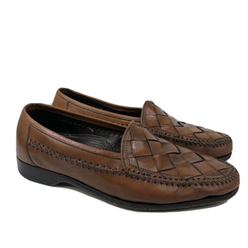 Bragano Woven Leather Slip On Loafer Shoes Size 9M