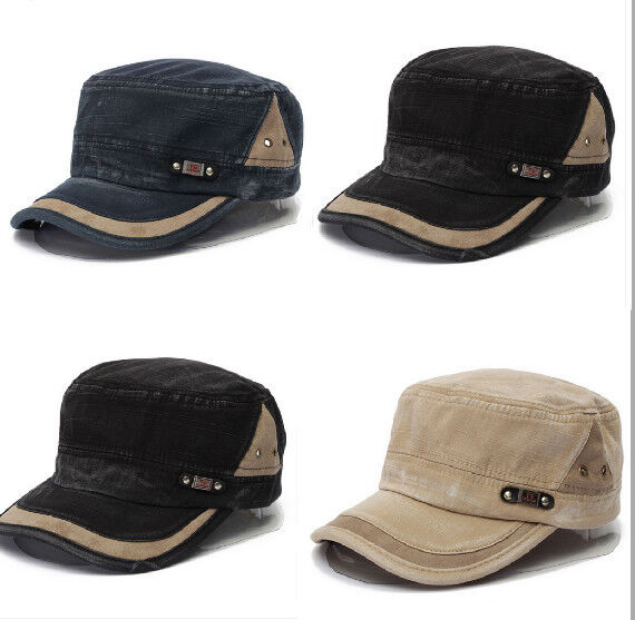 Adjustable Men Women Classic Army Plain Vintage Hat Cadet Military Baseball Cap